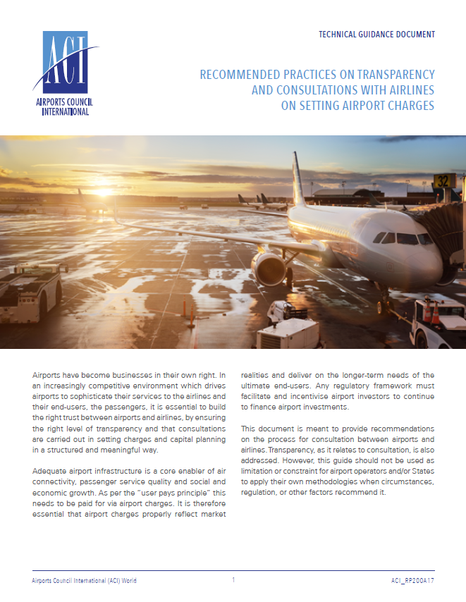Recommended Practices on Transparency and Consultations with Airlines on Setting Airport Charges Cover Image